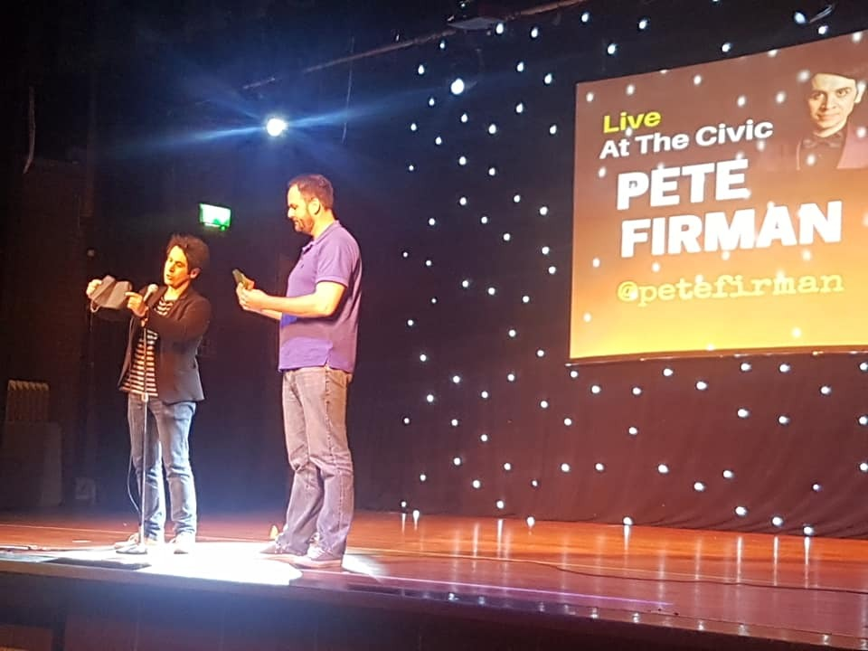 Magician Pete Firman, left, kicked off the latest Live At The Civic comedy night at Brierley Hill Civic Hall.