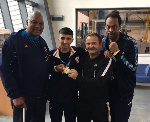 Sahil Khan and his team celebrate gold medal success in Scotland