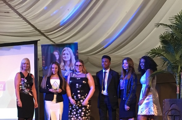 Rebecca Bond, of Nicklin LLP, left, with the winners of the Young Enterprise Sustainable Business Award.