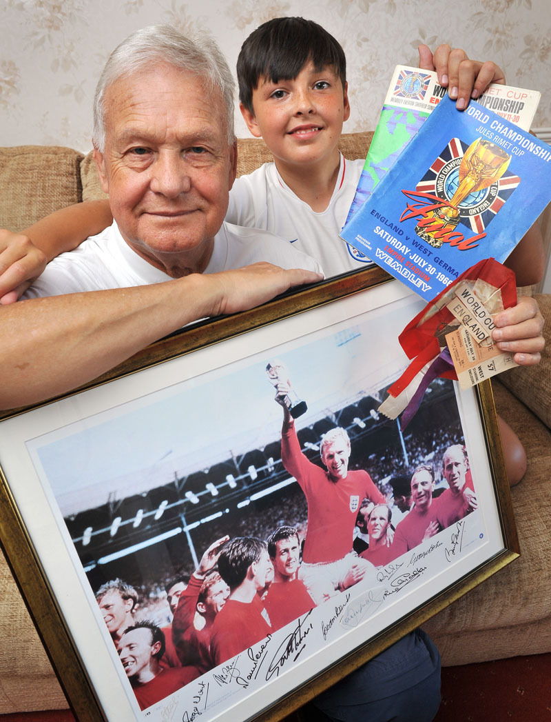 Roger Homer, with grandson Harley Bedford, aged 13, is hoping to watch England play in a second World Cup Final – as long as they beat Croatia this evening.
