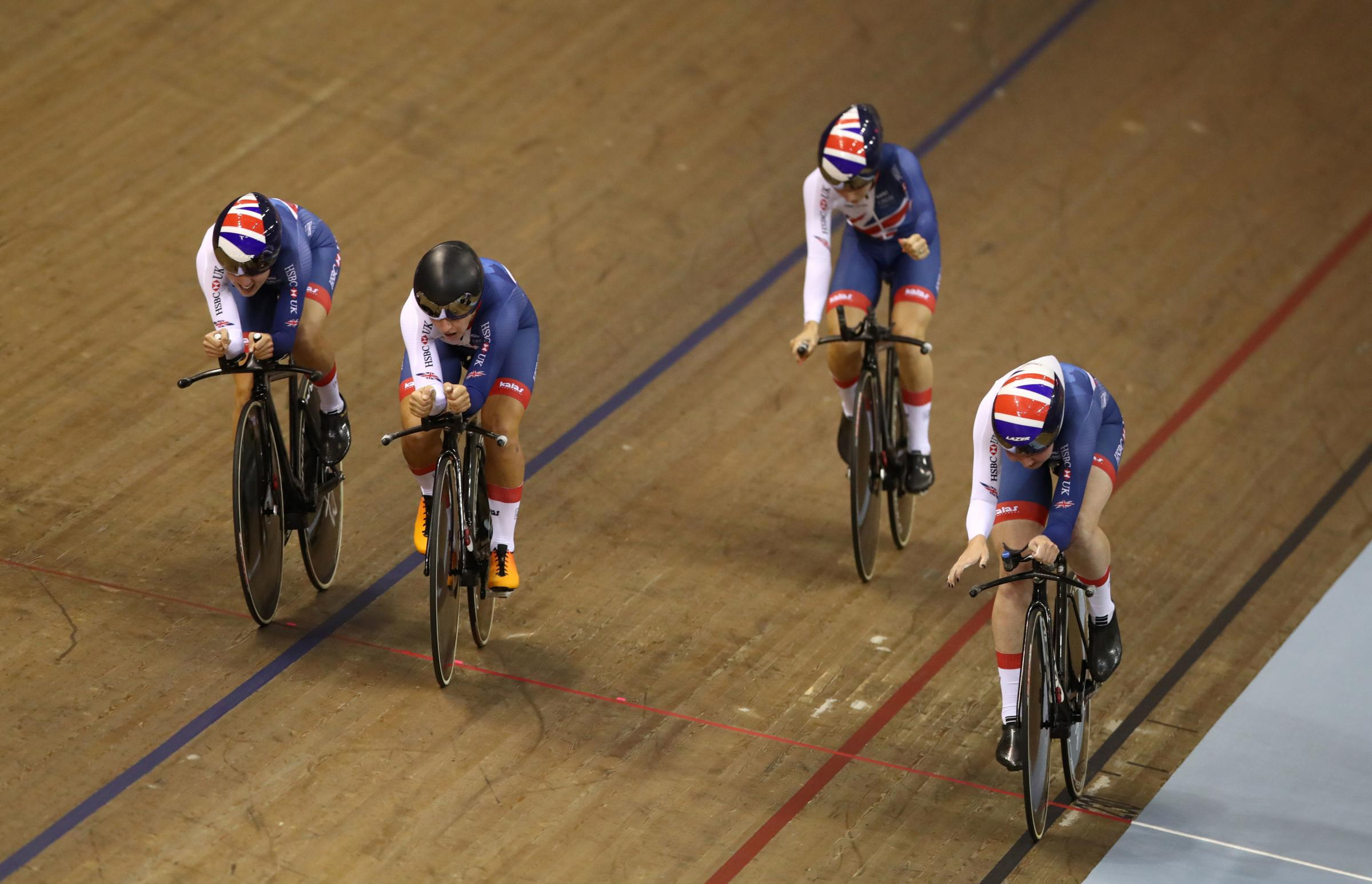 Great Britain's Laura Kenny, Neah Evans, Katie Archibald and Elinor Barker celebrate taking gold in then Women's Team Pursuit final during day two of the 2018 European Championships at the Sir Chris Hoy Velodrome, Glasgow. PRESS AS
