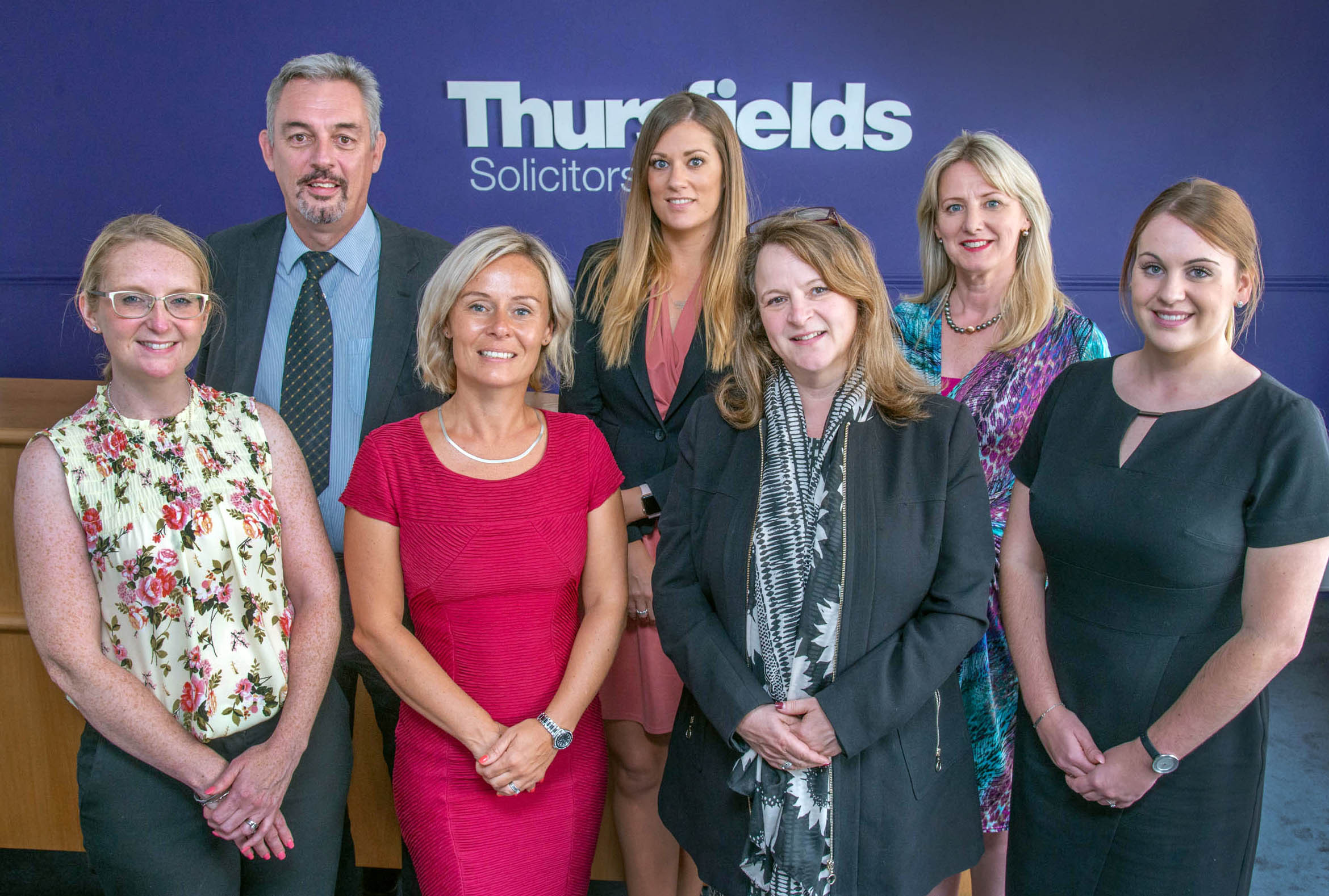 Thursfields Solicitors' Kelly Pougher, David Emery-Jones, Sarah Denney-Richards, Charlotte Perry, Mercedes King-Jones, Michelle O'Hara and Nicola Pearce. Photo: Martin Humby