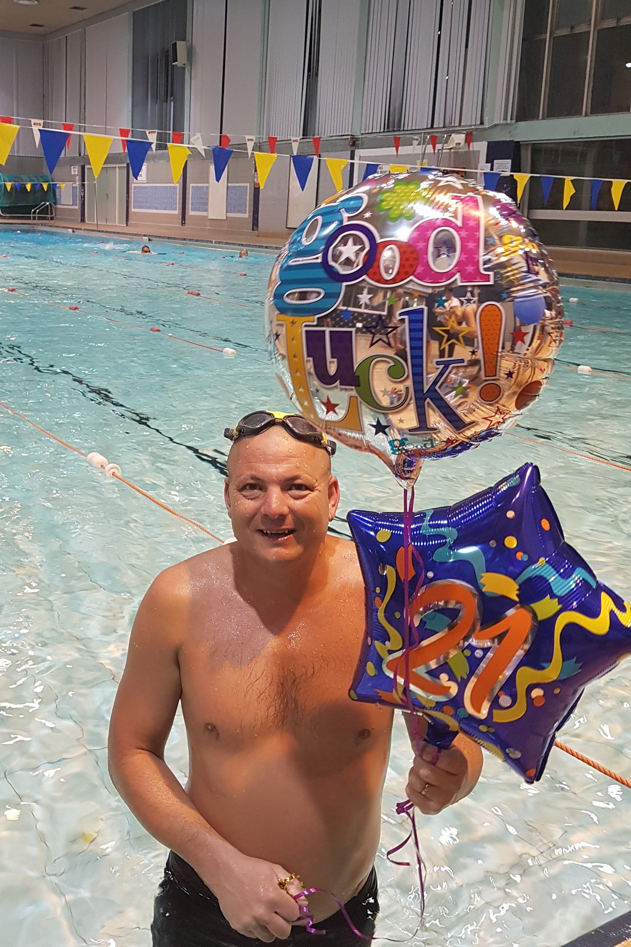 Quarry Bank man Damian Campbell after completing his 21-mile charity swimming challenge at Halesowen Leisure Centre.