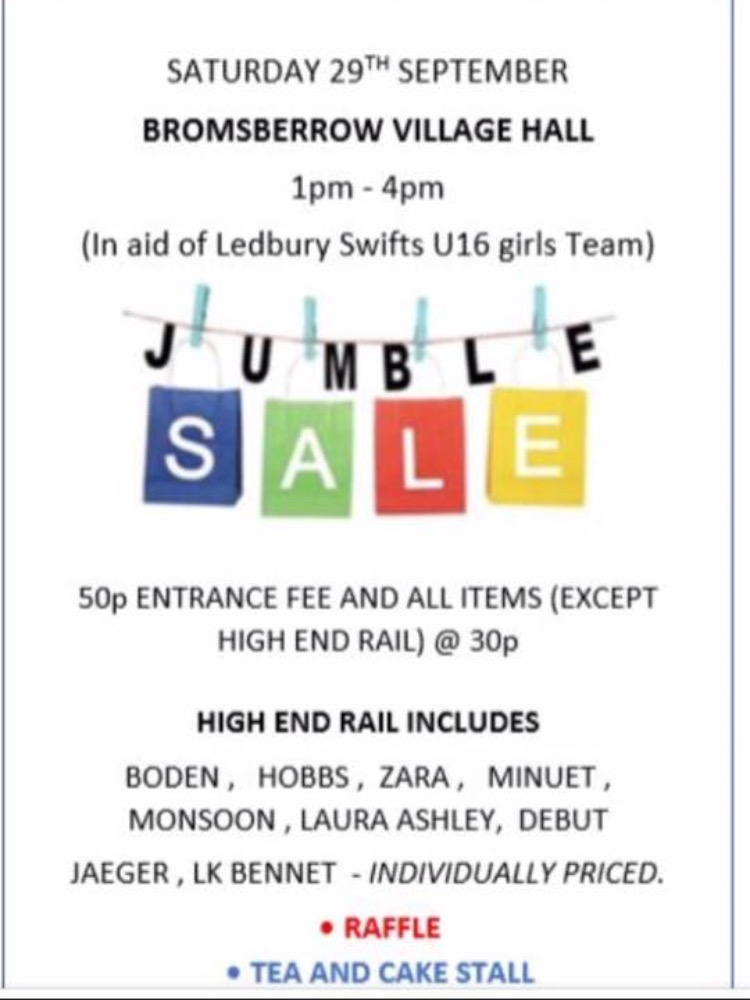 Ledbury Swifts Jumble Sale