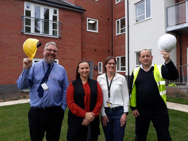 L-r - Andy Timmins - surveyor at Dudley Council, Councillor Laura Taylor, cabinet member for housing, Cheryl Coe - the council's housing options and support team manager, and Steve Mitchell - site manager for Jessup.