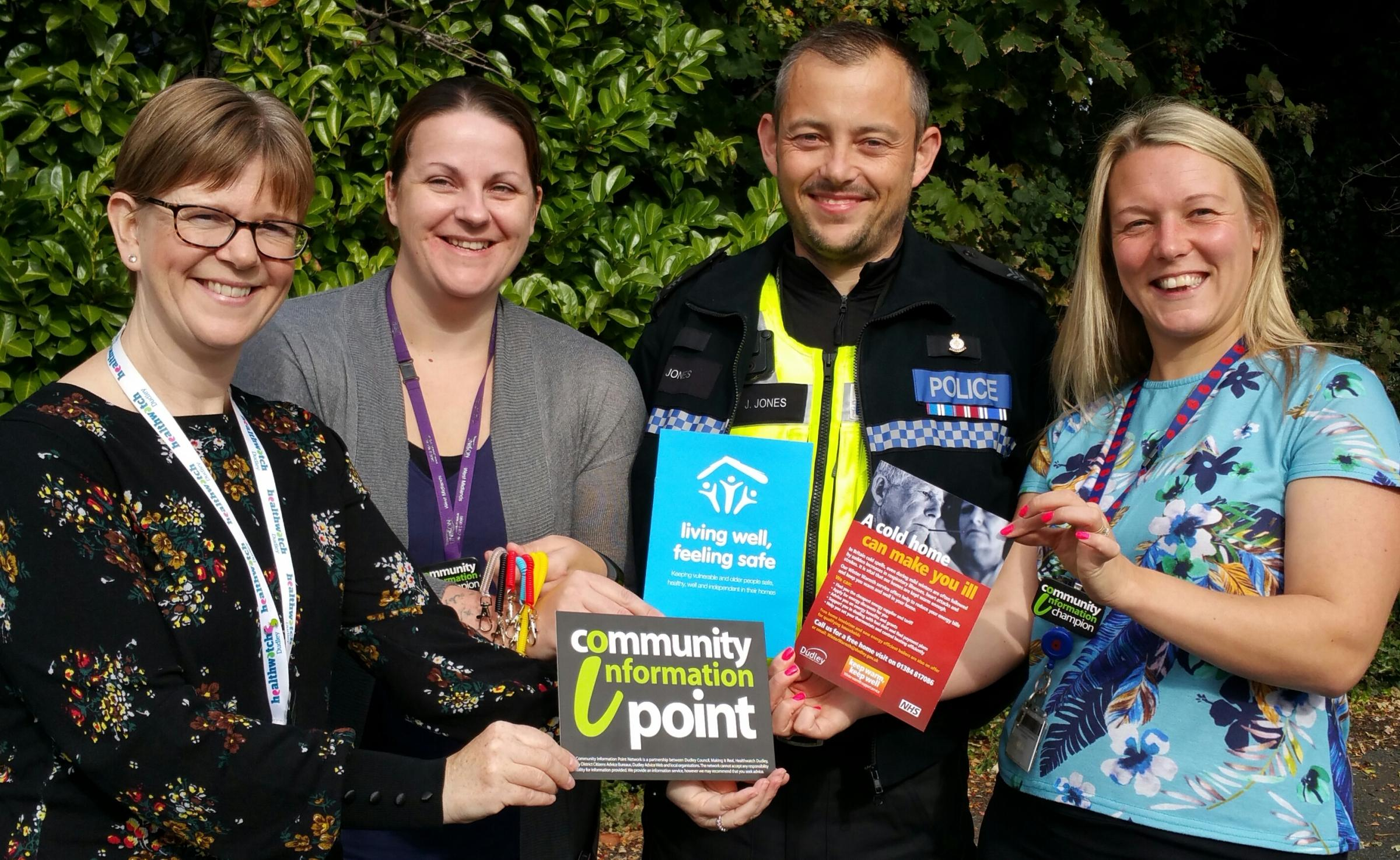 L-R: Sarah Hill (Healthwatch Dudley), Gemma Bradley (Living Well Feeling Safe), Sgt Jimmy Jones (Dudley Partnerships Team) and Charlotte Bennett ( Dudley Council's Winter Warmth Service)