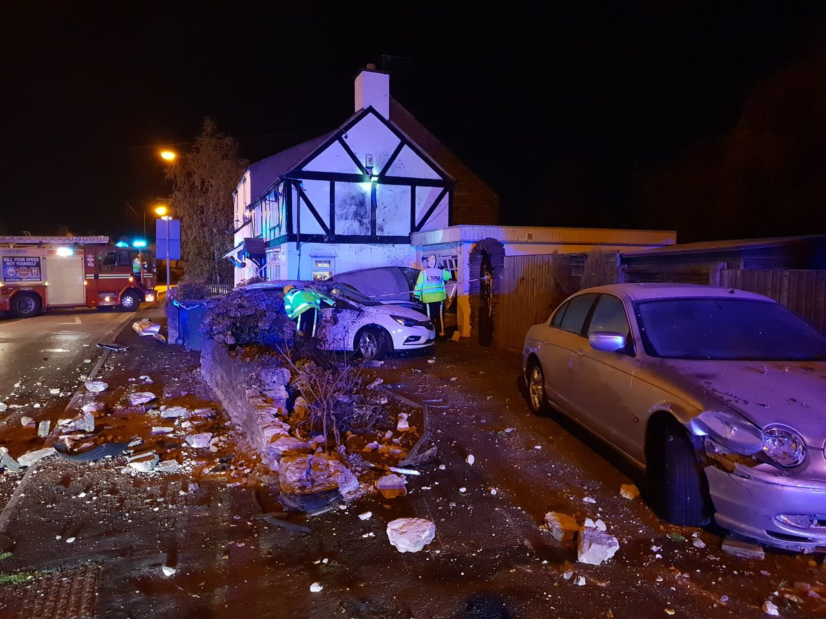 The crash scene on Amblecote Road. Picture: Twitter/Brierley Hill Fire Service