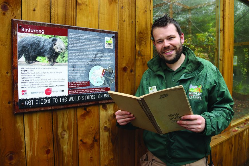 Dudley Zoo's Assistant Curator Jay Haywood with the diary.