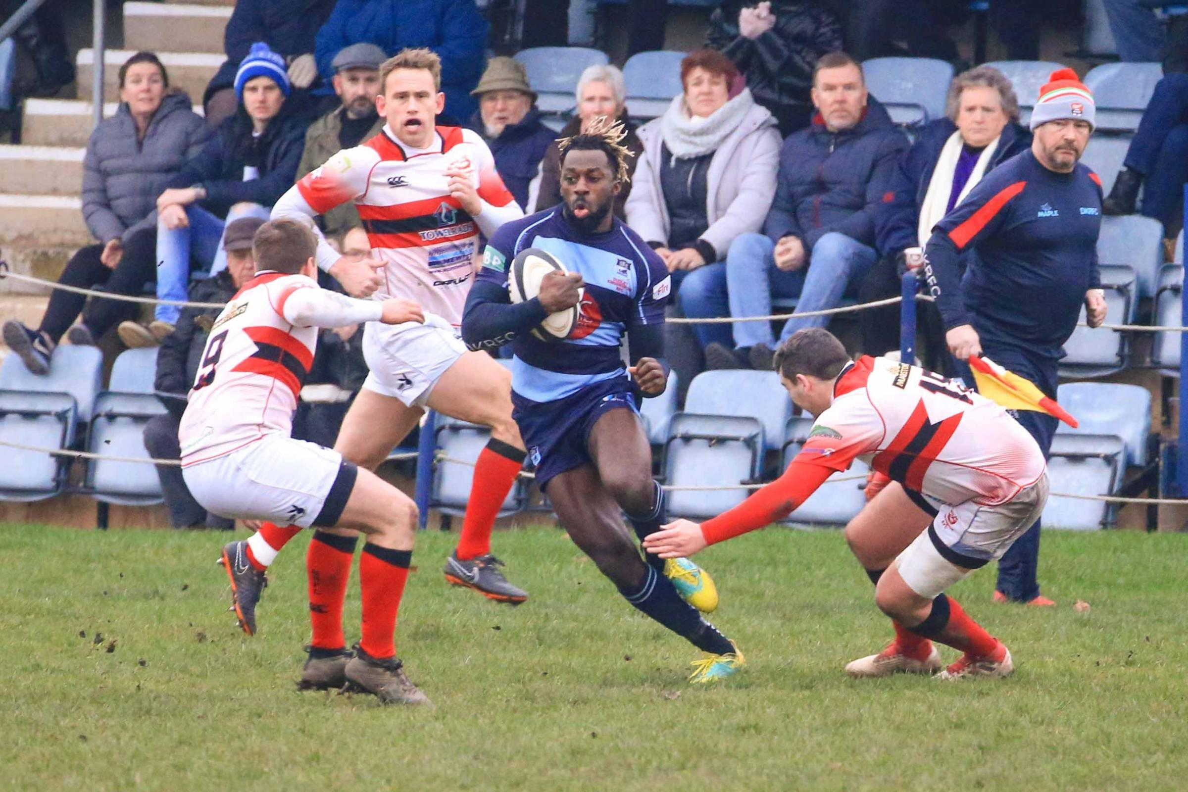 Charles Buffour cuts in off his wing against Bromsgrove. Photo: Ian Jackson