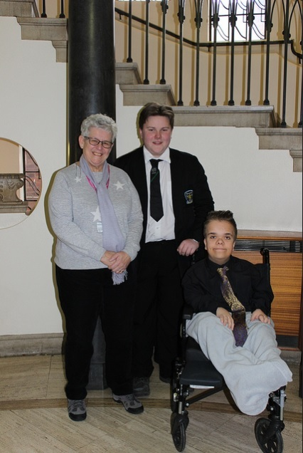 Councillor Sue Ridney, cabinet member for children and young people, with Dudley Youth Council members Ben Corfield and Kieran Mills