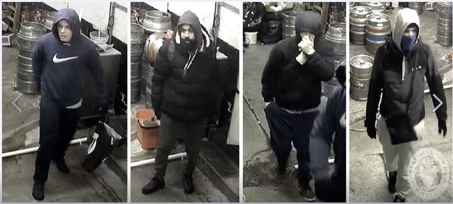 Police wish to speak to these four men. Photo: West Midlands Police.