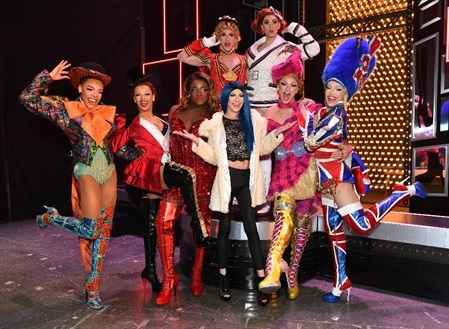 Athena Heart with the cast of Kinky Boots at the Birmingham Hippodrome.