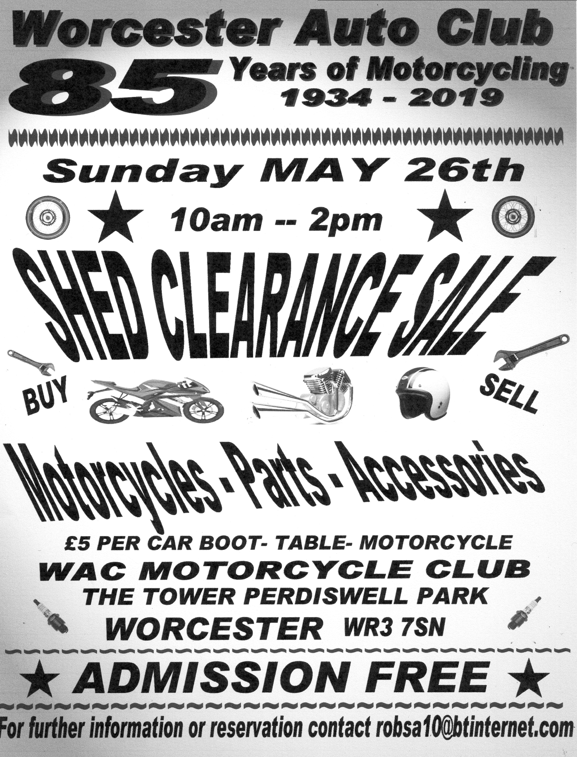 Shed Clearance Sale of Motorcycles, Parts and Accessories