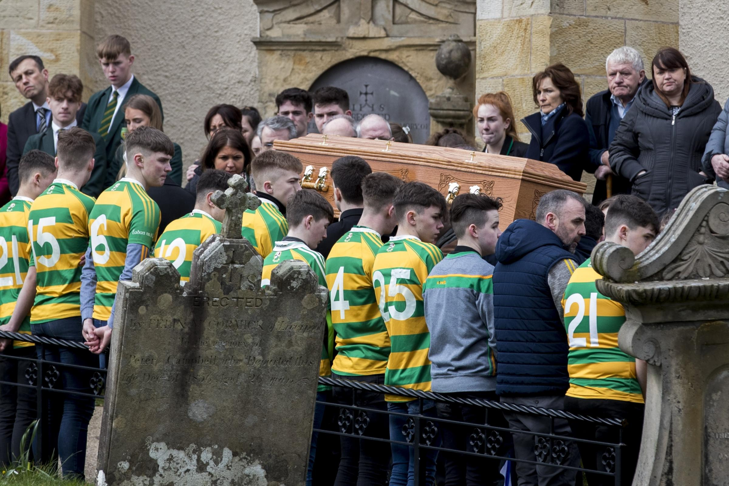 Teammates at the funeral of Connor Currie