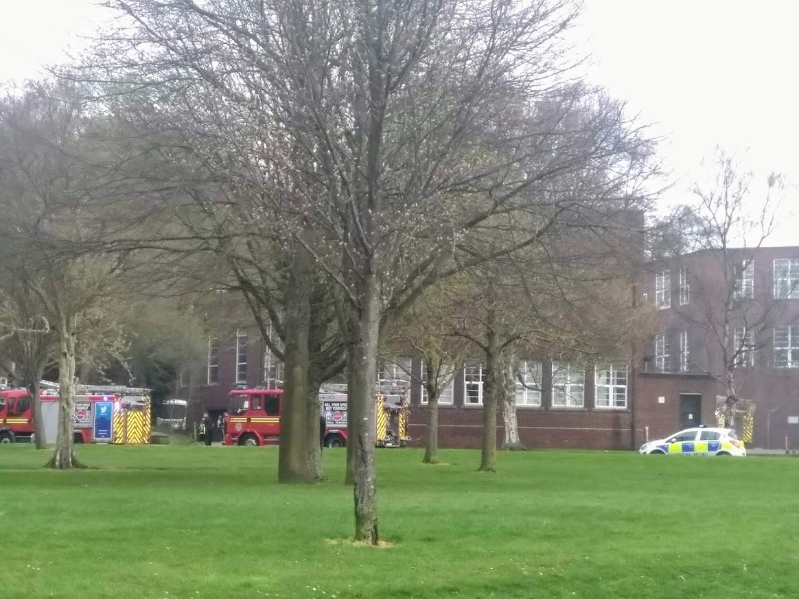Fire crews pictured at the scene at Dudley College