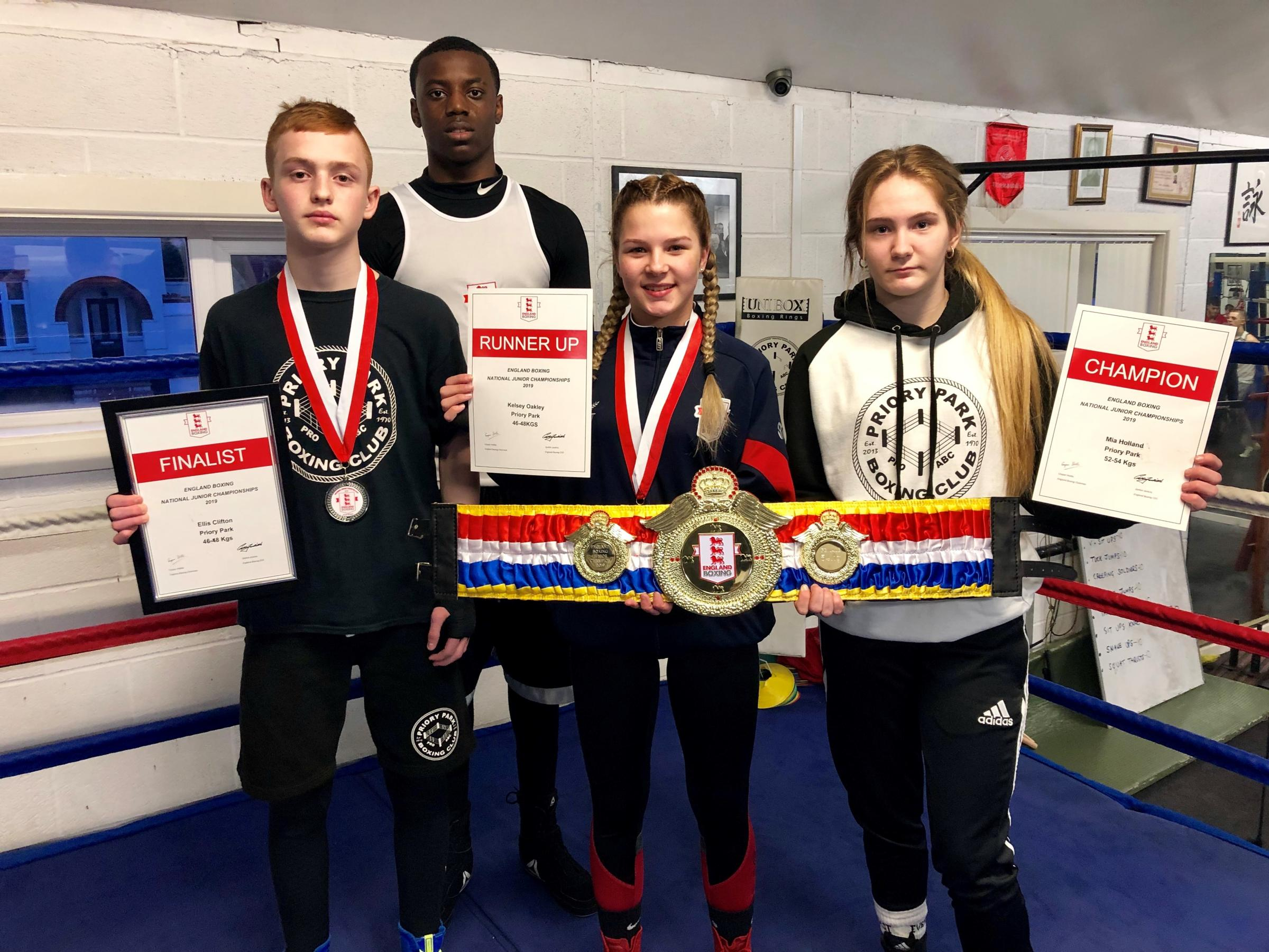 Priory Park's Ellis Clifton, Teon Graham, Kelsey Oakley and Mia Holland