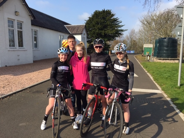 Grace Lister, Ian Lister (manager) Ellie, Kinga and Mel Southall from the Tour of Scotland