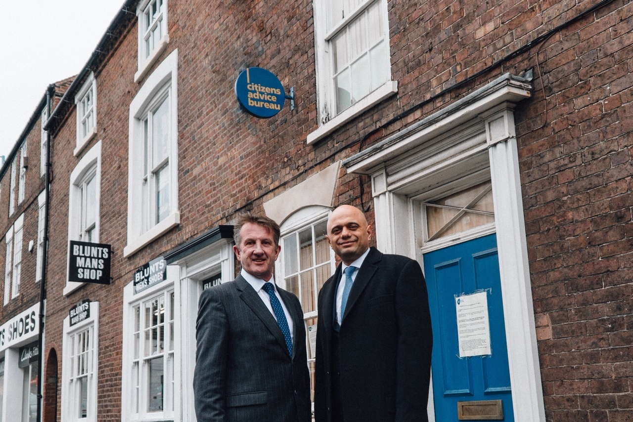 Cllr Steve Clark with Home Secretary Sajid Javid outside the old CAB base which could become the town's new police station