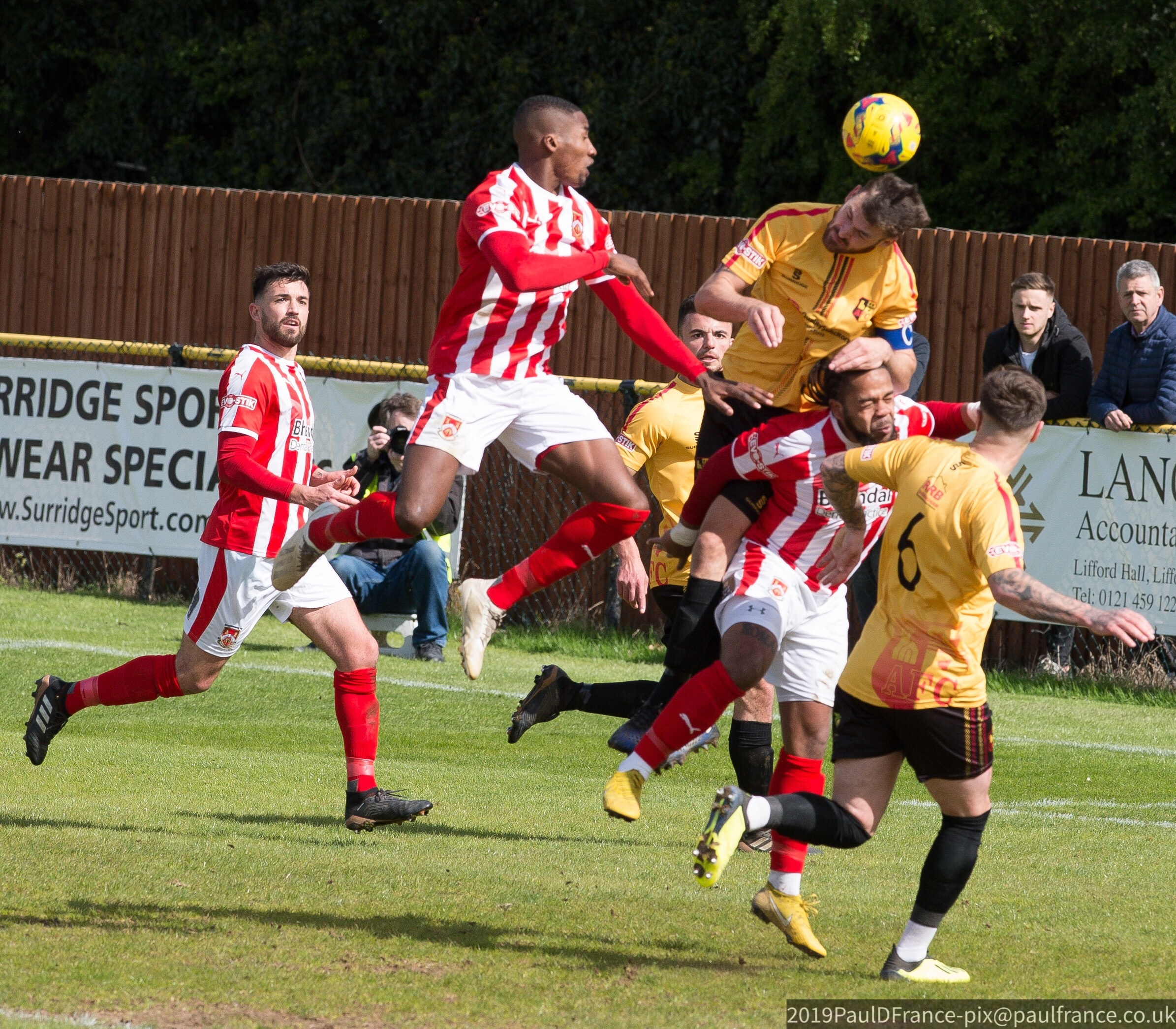 Action as Alvechurch and Stour battled in the play-off semi-final. Photo by Paul France.