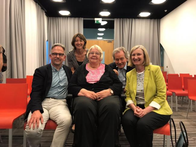 Dr David Nicholl, pictured with Charlotte Gath, patient Gillian Marshall, Stephen Dorrell and Sarah Woolaston.
