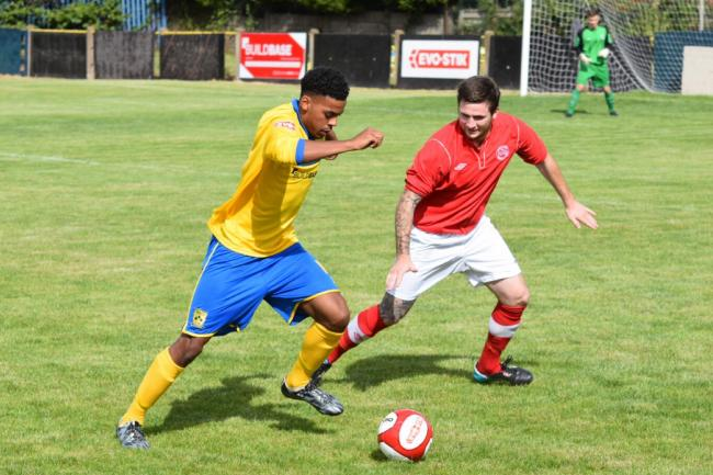 INCOMING: Demetri Brown in action for Tividale. Photo by Caroline Wells, Tividale FC.
