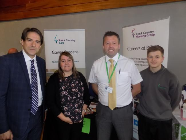 Pictured: James Morris MP with the fair's sponsors, Black Country Housing Group.
