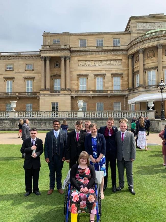 The youngsters with their 'Gold Awards' at Buckingham Palace.